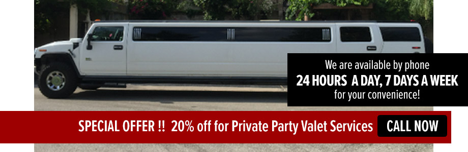 SPECIAL OFFER !!  20% off for Private Party Valet Services